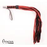 Avalon - Rød & Sort lærflogger med metall på håndtaket