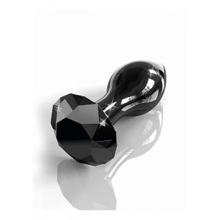ICICLES No.78 - Sort Buttplug av Glass med Diamant
