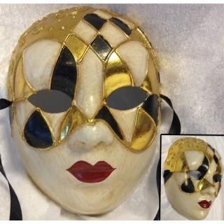 Venezia Maske - Ruter i sort og gull m/røde lepper